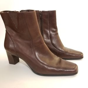 Anne Klein Mascooter Leather Ankle Boots, Size 8M